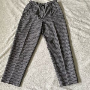 Y2K grey plaid oversized pants with pockets